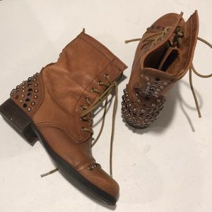 Aldo studded leather combat boots brown Sz 7.5